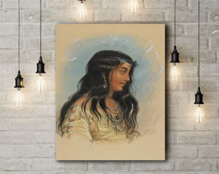 Alfred Jacob Miller: A Young Woman of the Flat Head Tribe. Fine Art Canvas.